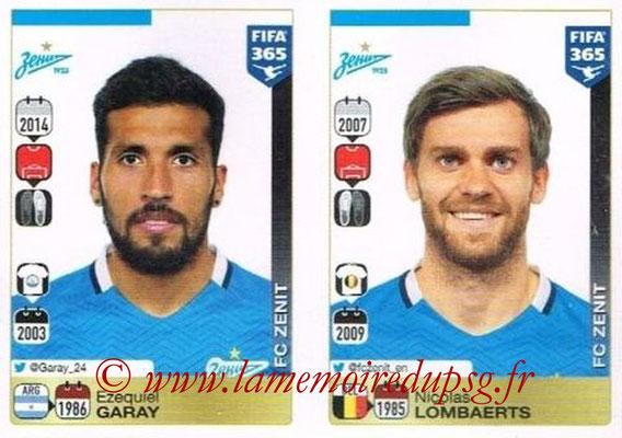 2015-16 - Panini FIFA 365 Stickers - N° 734-735 - Ezequiel GARAY + Nicolas LOMBAERTS (FC Zenit)