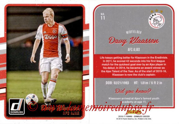2016 - Panini Donruss Cards - N° 011 - Davy KLAASSEN (AFC Ajax)