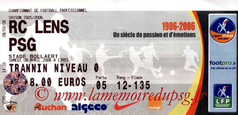 Tickets  Lens-PSG  2005-06