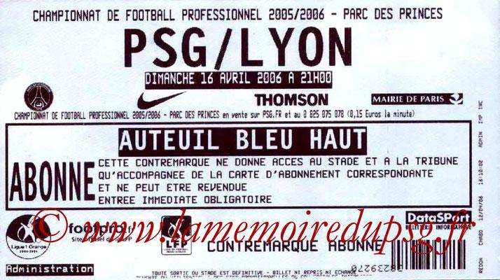 Tickets  PSG-Lyon  2005-06