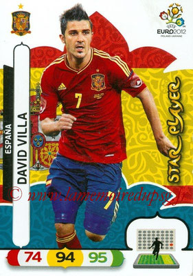 Panini Euro 2012 Cards Adrenalyn XL - N° 074 - David VILLA (Espagne) (Star Player)