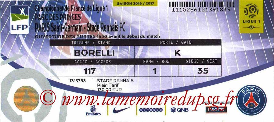 Tickets  PSG-Rennes  2016-17
