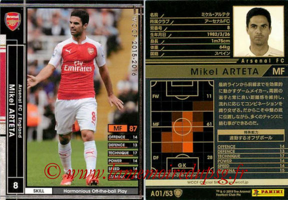 N° A01 - Mikel ARTETA (Janc 2001-02, PSG > 2015-16, Arsenal FC, ANG)