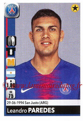 2018-19 - Panini Ligue 1 Stickers - N° T30 - Leandro PAREDES (Paris Saint-Germain) (Transfert)