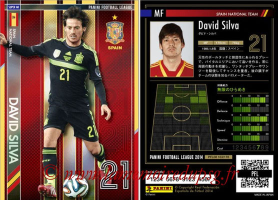 Panini Football League 2014 - PFL08 - N° 163 - David SILVA (Espagne) (Super MF)