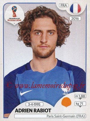 2018 - Panini FIFA World Cup Russia Stickers - N° 204 - Adrien RABIOT (France)