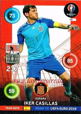 Panini Road to Euro 2016 Cards - N° 073 - Iker CASILLAS (Espagne)