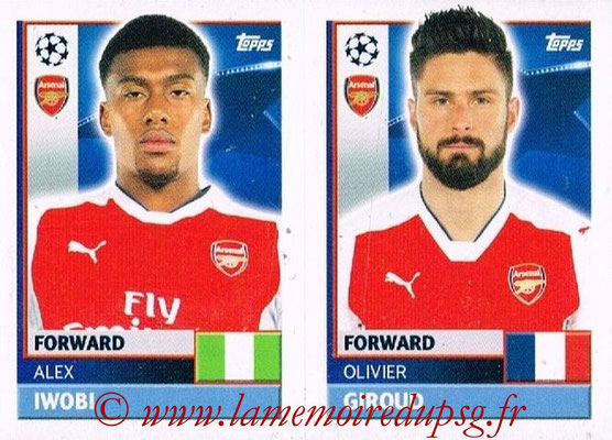 2016-17 - Topps UEFA Champions League Stickers - N° ARL 18-19 - Olivier GIROUD + Alex IWOBI (Arsenal FC)