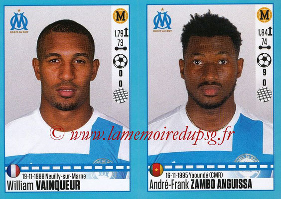 2016-17 - Panini Ligue 1 Stickers - N° 414 + 415 - William VAINQUEUR + André-Frank ZAMBO ANGUISSA (Marseille)