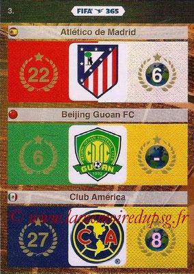 2015-16 - Panini Adrenalyn XL FIFA 365 - N° 003 - Logo et Palmarès Atletico Madrid + Beijing Guoan FC + Club America