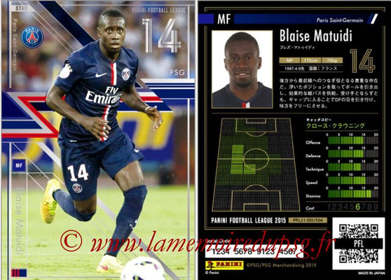 Panini Football League 2015 - PFL11 - N° 051 - Blaise MATUIDI (Paris Saint-Germain) (Star)