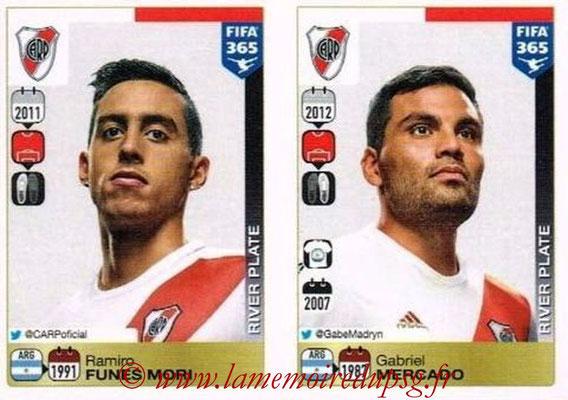 2015-16 - Panini FIFA 365 Stickers - N° 104-105 - Ramiro FUNES MORI + Gabriel MERCADO (River Plate)