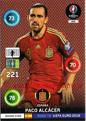 Panini Road to Euro 2016 Cards - N° 266 - Paco ALCACER (Espagne) (Rising Star)