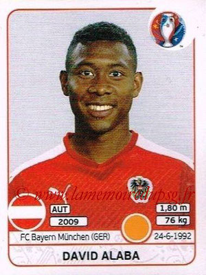 Panini Euro 2016 Stickers - N° 638 - David ALABA (Autriche)