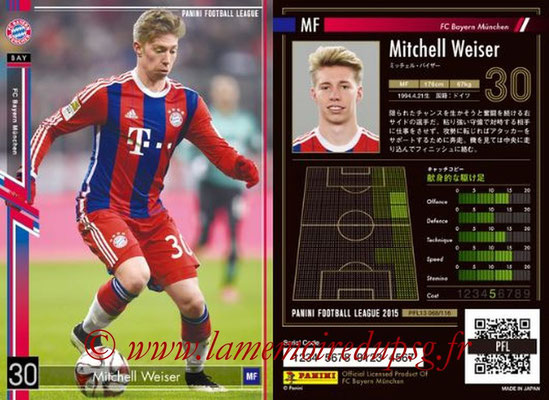 Panini Football League 2015 - PFL13 - N° 068 - Mitchell WEISER (FC Bayern Munich)