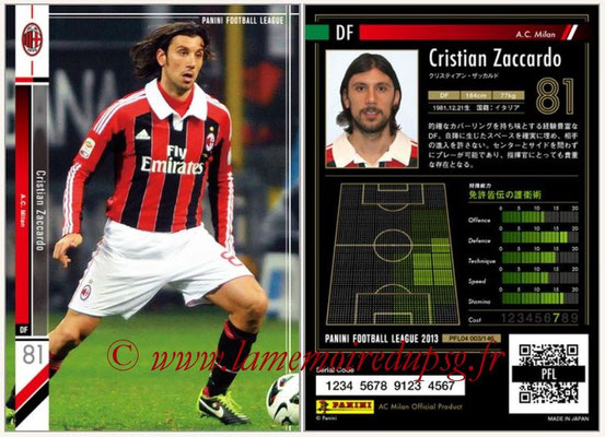 Panini Football League 2013 - PFL04 - N° 003 - Cristian ZACCARDO (Milan AC)