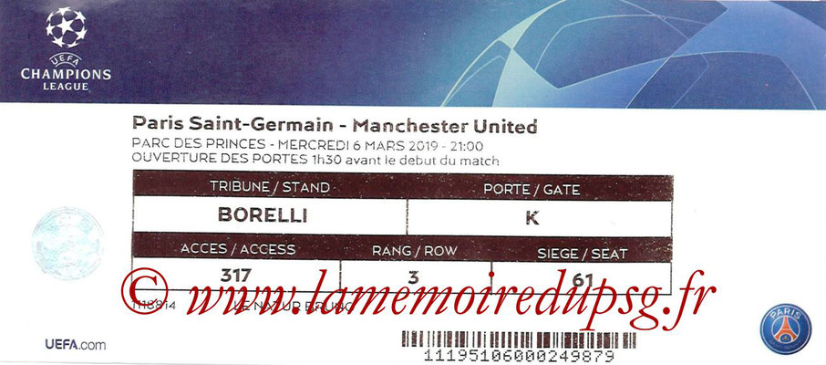 Ticket  PSG-Manchester United  2018-19