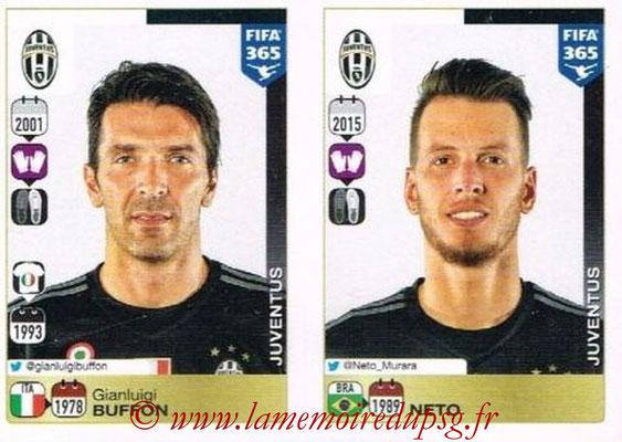 2015-16 - Panini FIFA 365 Stickers - N° 552-553 - Gianluigi BUFFON + NETO (Juventus FC)