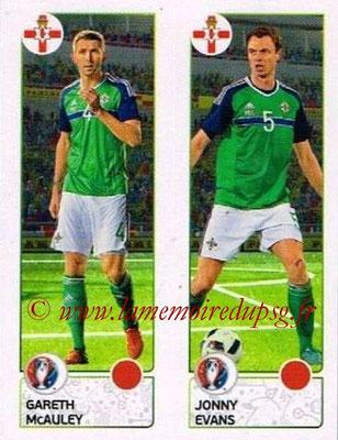Panini Euro 2016 Stickers - N° 321 - Gareth McAULEY + Jonny EVANS (Irlande du Nord)