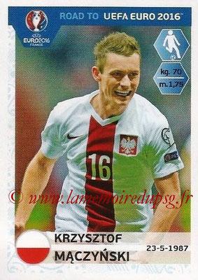 Panini Road to Euro 2016 Stickers - N° 220 - Krzysztof MACZYNSKI (Pologne)
