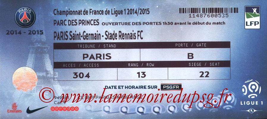 Tickets  PSG-Rennes  2014-15