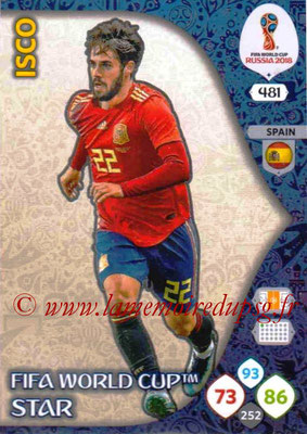 2018 - Panini FIFA World Cup Russia Adrenalyn XL - N° 481 - ISCO (Espagne) (FIFA World Cup Star) (Nordic Edition)