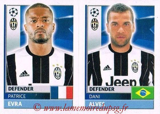 2016-17 - Topps UEFA Champions League Stickers - N° JUV 6-7 - Dani ALVES + Patrice EVRA (Juventus FC)