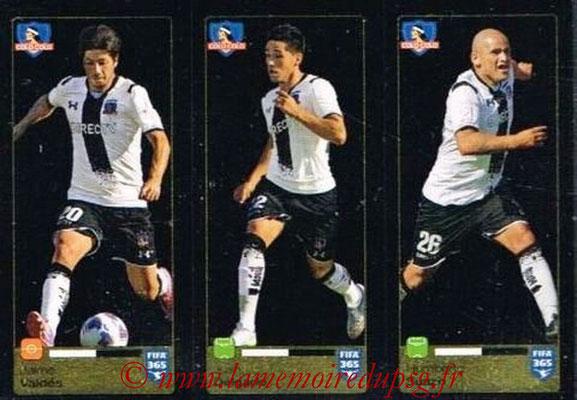 2015-16 - Panini FIFA 365 Stickers - N° 240-241-242 - Jaime VALDES + Juan DELGADO + Humberto SUAZO (Colo Colo)