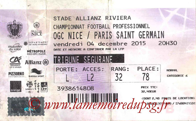 Tickets  Nice-PSG  2015-16