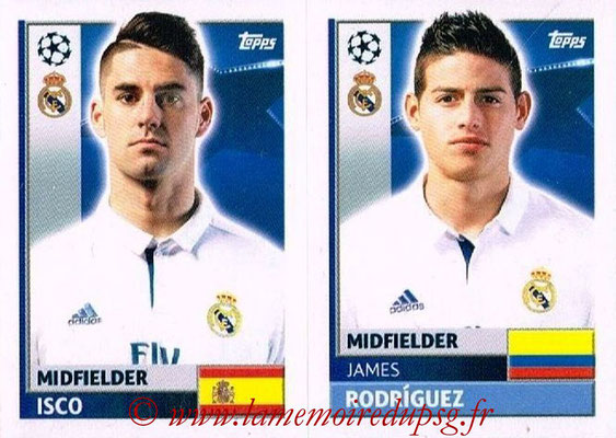 2016-17 - Topps UEFA Champions League Stickers - N° REA 14-15 - James RODRIGUEZ + ISCO (Real Madrid CF)