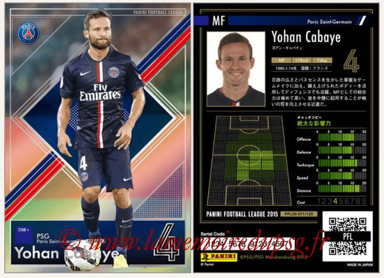 Panini Football League 2015 - PFL09 - N° 071 - Yohan CABAYE (Paris Saint-Germain)