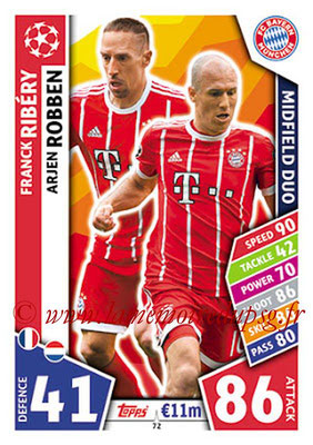 2017-18 - Topps UEFA Champions League Match Attax - N° 072 - Franck RIBERY + Arjen ROBBEN (FC Bayern Munich) (Midfield Duo)