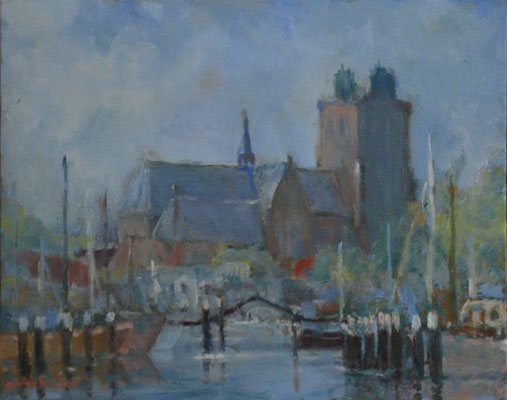 Grote Kerk met Nieuwe Haven, lente (24 cm x 30 cm)
