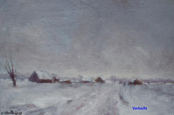 Dorpje in de sneeuw (verkocht)