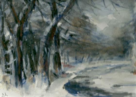 Winterlandschap (12 cm X 17 cm) € 60,00 (met lijst)