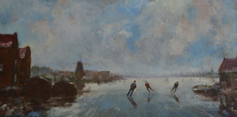 Schaatsers verlaten de haven.