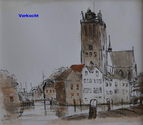 Grote Kerk met Bomkade (14 cm x 16 cm) € 65,00 (met lijst)