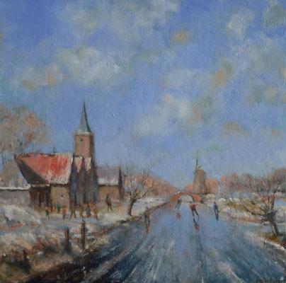 Schaatsers langs de kerk.