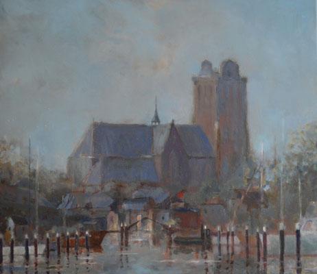 Grote Kerk met Nieuwe Haven (80 cm x 70 cm). Verkocht.