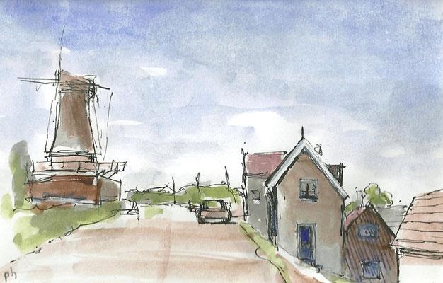 Lekdijk, Streefkerk (10 cm x 16 cm) € 55,00 (met lijst)