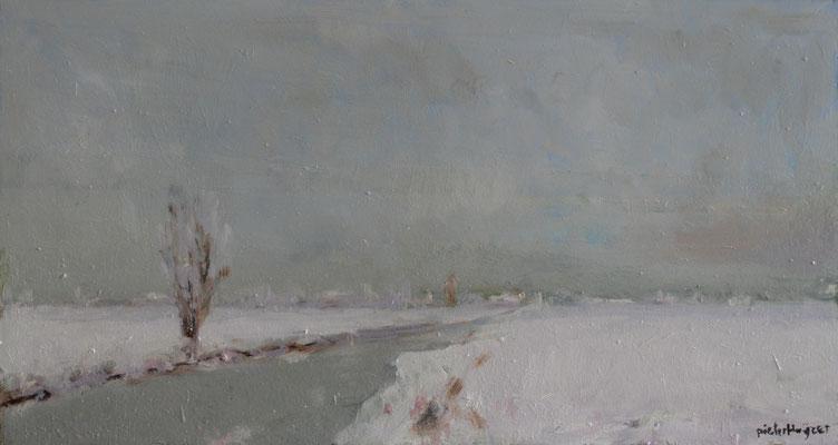 Alblasserwaard in de sneeuw (25 cm x 40 cm)