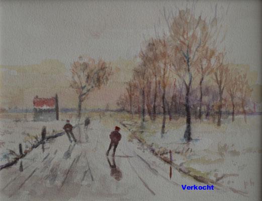 Schaatsers 2 (20 cm x 15 cm) € 75,00 (met lijst)