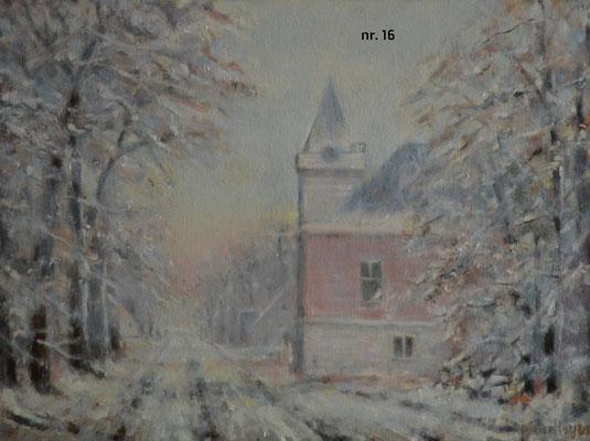 nr 16 Dubbeldam, voormalig gemeentehuis in de winter