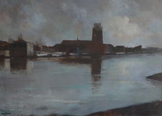 Grote Kerk vanaf beeldenpark te Zwijndrecht, herfst (95 cm x 70 cm)