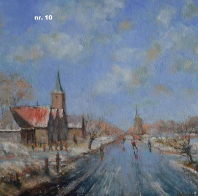 nr. 10 Schaatsers langs de kerk