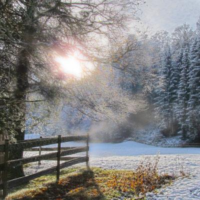 Erster Schnee von der Sonne begrüsst