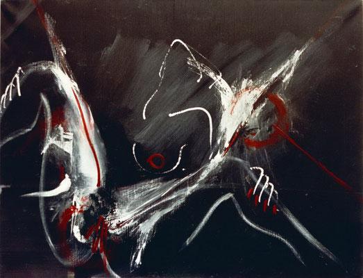 """Corine_S_Congiu-1989-B13-Tropisme_noir-Collection privée_Acrylique sur toile-116x89cm : Sonia Devi """"Commedia dell'Almas"""""""