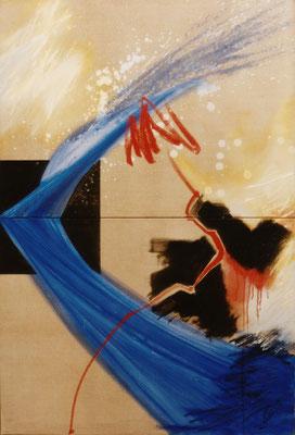 Corine Sylvia Congiu-1994-Diptyque -jet-bleu-acrylique_et_huile-146X100 cm : Marie Mayol : « La danseuse au miroir noir désir »