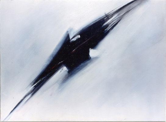 Corine_S_Congiu-1986-Ariane-Acrylique sur toile128X173cm : Martin Hoffman : The Eagle Has Landed / Sonia Devi : Bitte volante / Delphine Bernard : Mécanisme de pendule murale