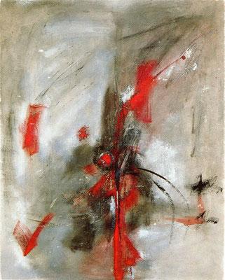 """Corine_S_Congiu-1989-B6-huile sur toile-160x130 cm : Sonia Devi """"Cynorhodon et colibri"""""""